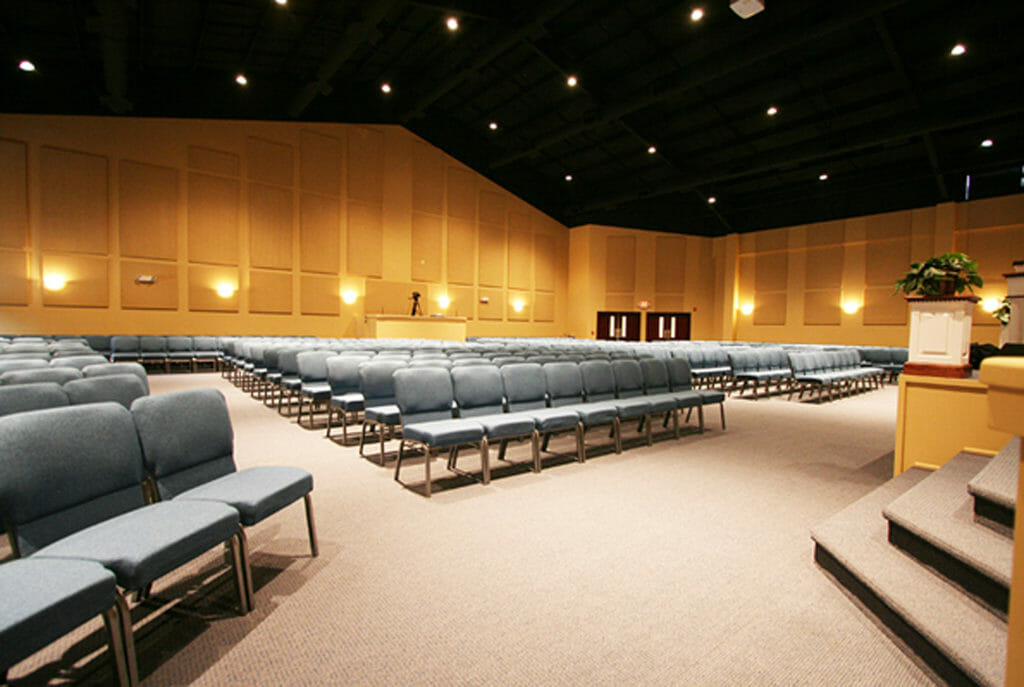Poly Max™ panels installed in a church sanctuary by Acoustical Surfaces