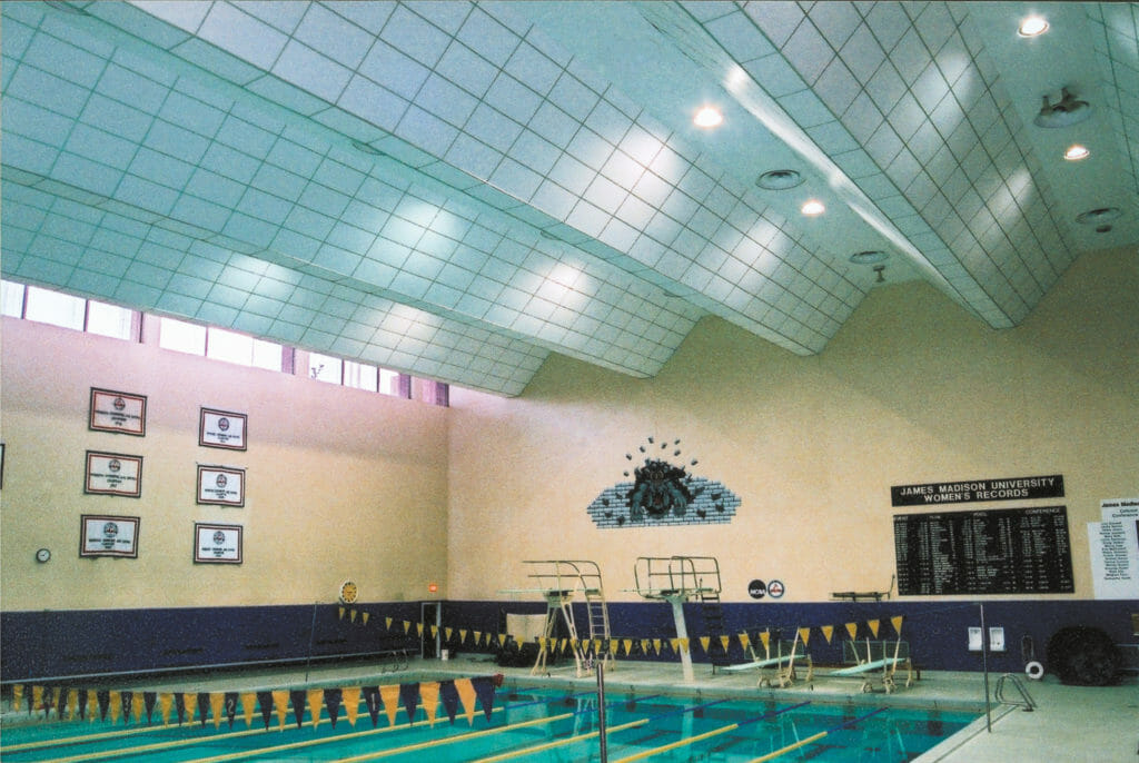 Sound Silencer being used in a swimming pool area to help reduce echo.