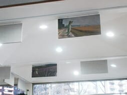 Custom Printed Geico Hanging Baffles by Acoustical Surfaces Inc.