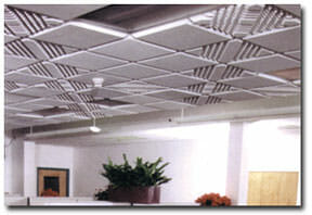 Groove Melamine Foam Acoustical Ceiling Tile by Acoustical Surfaces.
